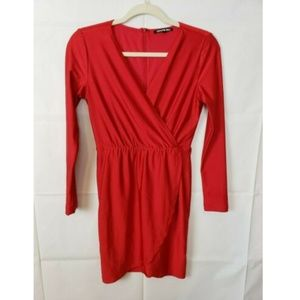 Gianni Bini Long Sleeve Red Wrap Dress Size XS